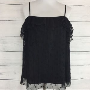 """NWT J. Crew Black """"Fluttery Lace Cami"""""""